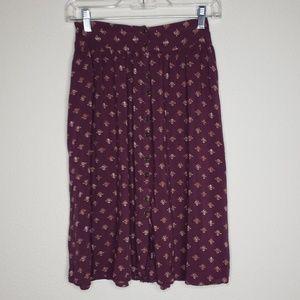Ecote Purple Floral Button Front Skirt